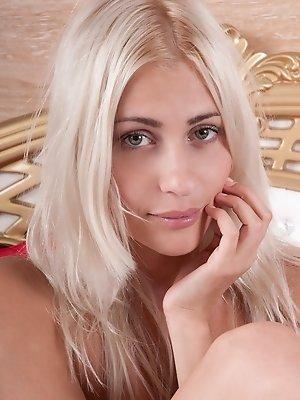 Slender blonde teasing